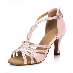 Женщины Атлас Сандалии Латино с горный хрусталь Т-ремешок Обувь для танцев (053123681)