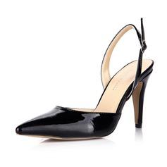 Couro Brilhante Salto agulha Bombas Fechados Sapatos abertos com Fivela sapatos (085042701)
