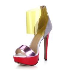 Patenteret Læder PVC Stiletto Hæl sandaler Platform Kigge Tå sko (087025070)