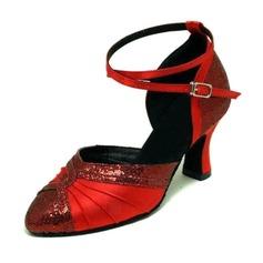 Mulheres Cetim Espumante Glitter Saltos Bombas Moderno Salão de Baile Sapatos de dança (053008916)