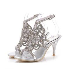 Donna Similpelle Tacco a spillo Sandalo Con cinturino con Strass (047083947)