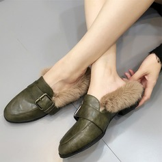 Women's Leatherette Flat Heel Flats Closed Toe With Buckle Fur shoes (086109365)