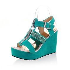 Konstläder Kilklack Sandaler Pumps Plattform Peep Toe Slingbacks med Strass Spänne skor (087048915)