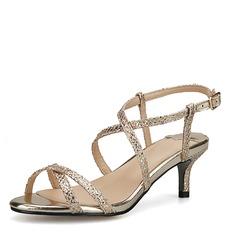 Mulheres Couro Salto agulha Sandálias Beach Wedding Shoes com Fivela (047125439)
