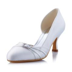 Женщины Атлас Каблук Закрытый мыс На каблуках с пряжка (047041575)