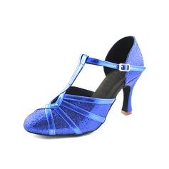 De mujer Cuero Brillo Chispeante Tacones Salón Sala de Baile con Tira T Zapatos de danza (053013261)