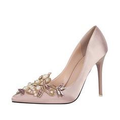 Женщины Шелковые Высокий тонкий каблук На каблуках с жемчуг обувь (085113768)