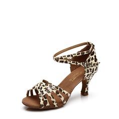 Женщины кожа На каблуках Сандалии Латино с Ремешок на щиколотке пряжка Обувь для танцев (053113004)