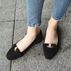 Женщины Замша Плоский каблук На плокой подошве Закрытый мыс с бантом обувь (086134593)