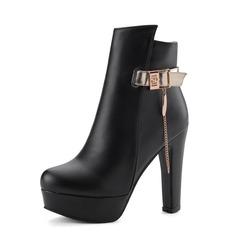 Женщины кожа Устойчивый каблук Полусапоги обувь (088091721)