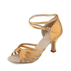 Женщины Атлас На каблуках Сандалии Латино с Ремешок на щиколотке Обувь для танцев (053013169)