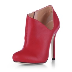Leatherette Stiletto Heel Closed Toe Pumps Ankle Boots (088020542)
