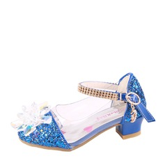 Girl's Closed Toe imitatieleer low Heel Pumps Bloemenmeisje schoenen met Kralen Gesp Strass Lovertje (207150957)