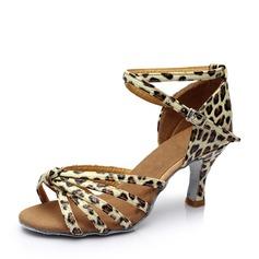 Женщины кожа На каблуках Сандалии Латино с Ремешок на щиколотке пряжка Обувь для танцев (053113010)