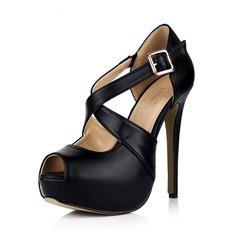 Leatherette Stiletto Heel Sandals Pumps Platform Peep Toe With Buckle shoes (087042724)
