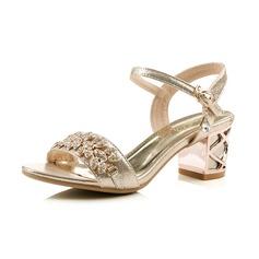Couro Salto robusto Sandálias Peep toe Sapatos abertos com Strass Fivela sapatos (087066542)