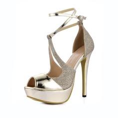 Женщины Лакированная кожа Высокий тонкий каблук Сандалии Платформа Открытый мыс с пряжка Соединение врасщеп обувь (087067288)