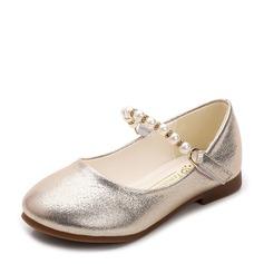 девичий Закрытый мыс дерматин Плоский каблук На плокой подошве Обувь для девочек с развальцовка (207116074)