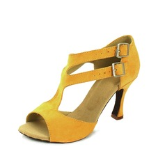 Mulheres Camurça Saltos Sandálias Latino com Fivela Sapatos de dança (053057154)