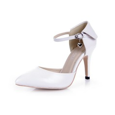 Patent Leather Stiletto Heel Pumps Closed Toe met Buckle schoenen (085038733)