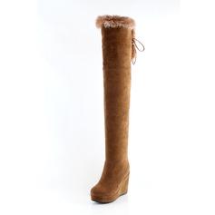 Женщины кожа Вид каблука Закрытый мыс Танкетка Сапоги до колен обувь (088094570)