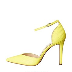 Women's PU Stiletto Heel Pumps Closed Toe With Buckle shoes (085142848)