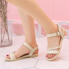 Femmes PU Talon plat Sandales Chaussures plates À bout ouvert Escarpins avec Rivet Boucle chaussures (087130814)