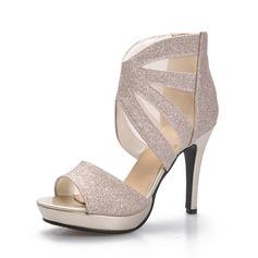 Mulheres Espumante Glitter Salto agulha Sandálias Peep toe sapatos (087084243)