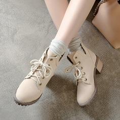 Mulheres Microfibra Couro Salto robusto Bombas Botas أحذية (088215218)