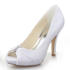 Mulheres Cetim Salto agulha Peep toe Plataforma Sandálias com Strass (047060557)