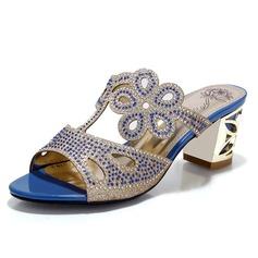 Kiiltonahka Chunky heel Sandaalit Avokkaat jossa Tekojalokivi kengät (087048999)