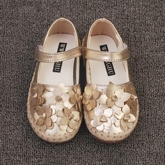 Girl's Closed Toe Microfiber Leather Flat Heel Flats Flower Girl Shoes With Flower (207153560)