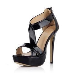 Patent Leather Stiletto Heel Sandals Pumps Platform Peep Toe With Zipper shoes (087042731)