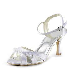 Mulher Cetim Salto agulha Sandálias Sapatos abertos com Fivela Dobras (047020117)