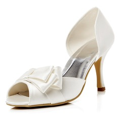 Женщины Атлас Высокий тонкий каблук Открытый мыс На каблуках Сандалии с бантом (047052673)