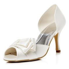 Women's Satin Stiletto Heel Peep Toe Pumps Sandals With Bowknot (047052673)