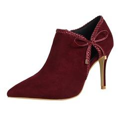 Женщины Замша Высокий тонкий каблук На каблуках Закрытый мыс Полусапоги с Аппликация обувь (085114784)