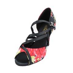 Женщины Атлас На каблуках Латино с пряжка Обувь для танцев (053043289)