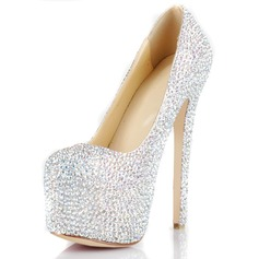 Patent Leather Stiletto Heel Pumps Plateau Closed Toe met Strass schoenen (085026494)