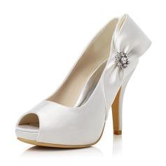 Women's Satin Stiletto Heel Peep Toe Pumps With Bowknot Rhinestone (047048026)