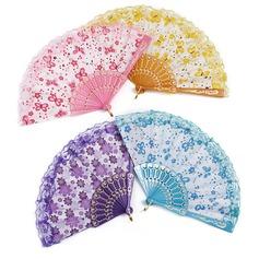 Bloemen ontwerp Plastische/Zijde Hand ventilator (Set van 4) (051052608)