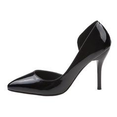 Лакированная кожа Высокий тонкий каблук На каблуках Закрытый мыс обувь (085059854)