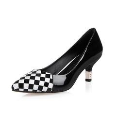 Äkta läder Kitten Heel Pumps Stängt Toe skor (085049255)