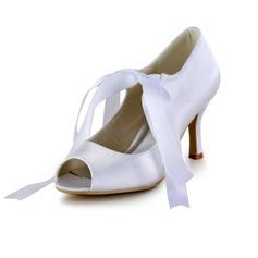 Vrouwen Satijn Cone Heel Peep Toe Sandalen met Vastrijgen (047026396)