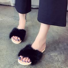 Женщины Плоский каблук На плокой подошве Тапочки с мех обувь (086137441)