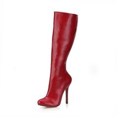 Женщины кожа Высокий тонкий каблук На каблуках Закрытый мыс Ботинки Сапоги до колен обувь (088095423)