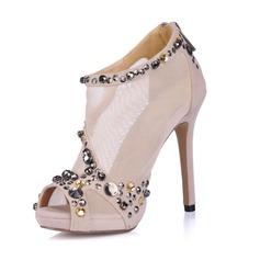 Suede Stiletto Heel Sandalen Plateau Peep Toe Enkel Laarzen met Strass schoenen (085026361)
