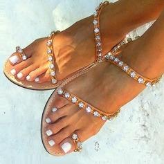 Женщины кожа Плоский каблук Сандалии На плокой подошве Открытый мыс с горный хрусталь обувь (087124913)