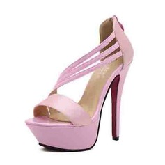 Konstläder Stilettklack Sandaler Plattform med Zipper skor (087052870)