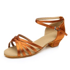Kids' Satin Heels Sandals Latin With Ankle Strap Dance Shoes (053092243)